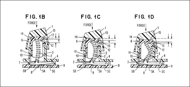 Three diagrams of the IBM Buckling Spring patent.